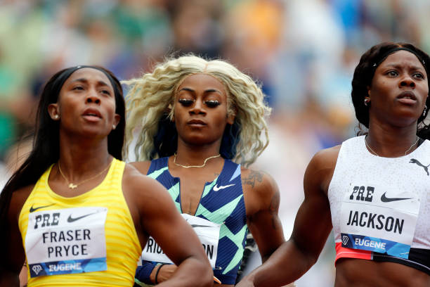 Sha'Carri Richardson reacts after finishing last in the 100m race during the Wanda Diamond League Prefontaine Classic at Hayward Field on August 21,...