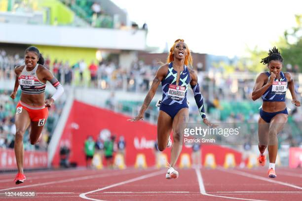 Sha'Carri Richardson wins the Women's 100 Meter final on day 2 of the 2020 U.S. Olympic Track & Field Team Trials at Hayward Field on June 19, 2021...