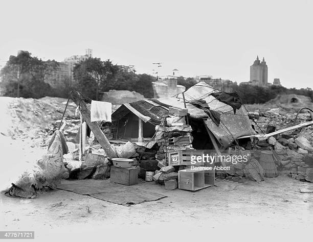 A shack in Hooverville Central Park New York City New York circa 1930