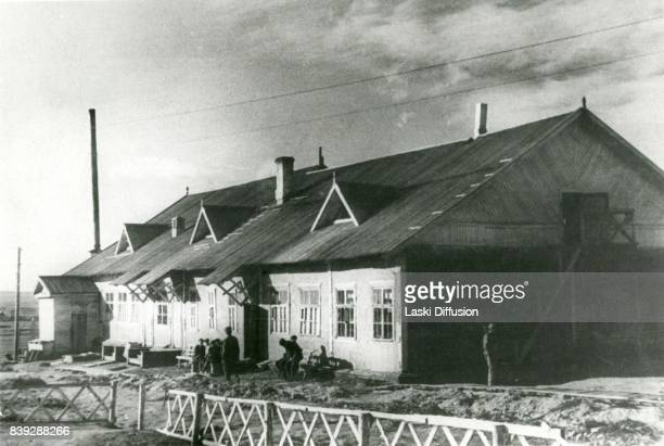 A shack in Vorkuta Gulag one of the major Soviet labor camps Russia Komi Republic 1945