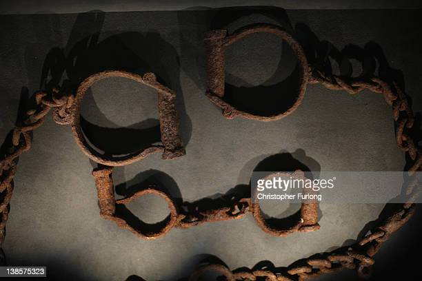 Shackles which were used to tether slaves on display at the International Slavery Museum on February 9 2012 in Liverpool England The maritime city of...