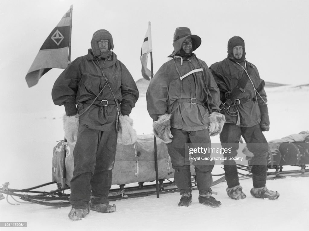 Shackleton, Wilson and Captain Scott ready for the Southern journey, Antarctica, 02 November 1902. National Antarctic Expedition 1901-1904.
