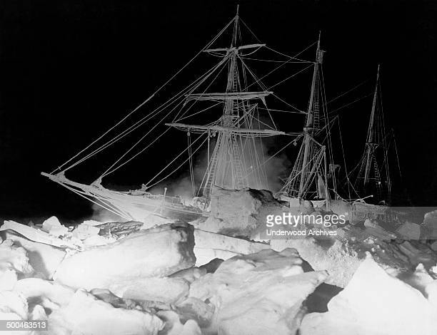 Shackleton's ship the Endurance as it lay locked in the Weddell Sea where it finally sank Antarctica August 27 1915 The remarkable lighting was...