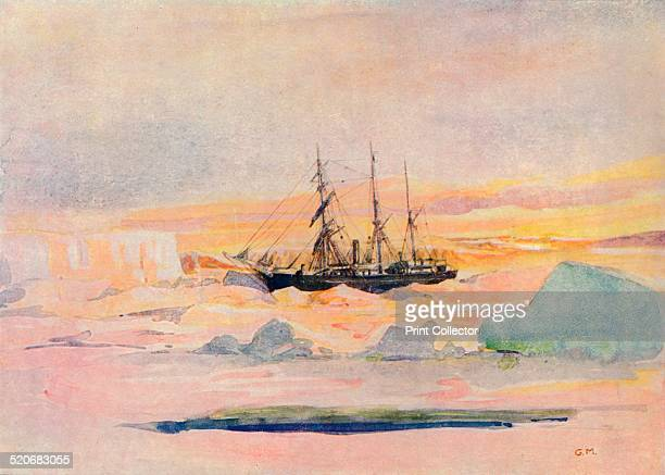 Shackleton's ship, the nimrod, among the ice in McMurdo Sound, the winter land quarters of the British Antarctic Expedition.' Ernest Shackleton ,...