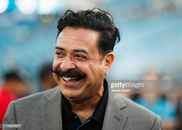 Shad Khan Owner of the Jacksonville Jaguars looks on before the start of a game against the Tennessee Titans at TIAA Bank Field on September 19 2019...