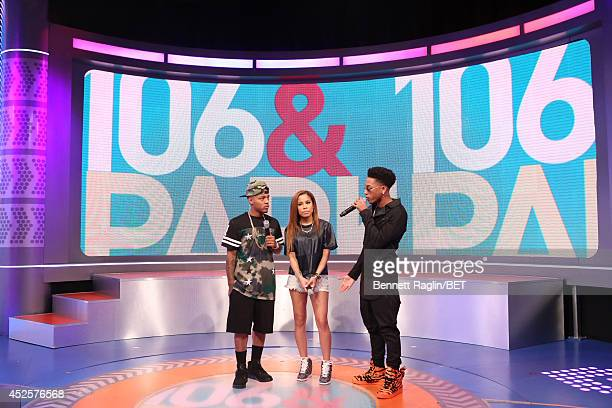 Shad Moss Keshia Chante and Jacob Latimore attend 106 Park at BET studio on July 22 2014 in New York City