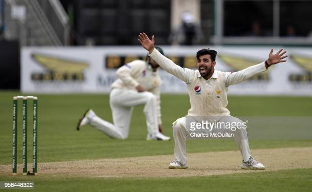 Shadab Khan of Pakistan appeals a decision during the fourth day of the international test cricket match between Ireland and Pakistan on May 14 2018...