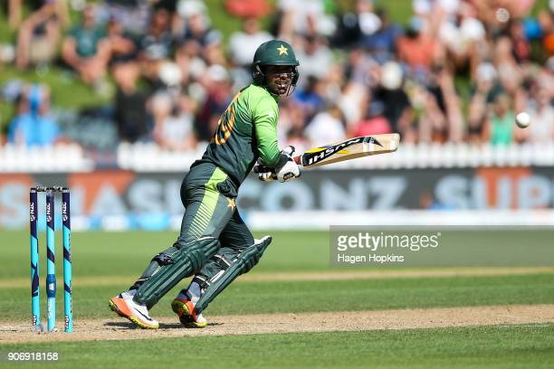 Shadab Khan of Pakistan bats during game five of the One Day International Series between New Zealand and Pakistan at Basin Reserve on January 19...