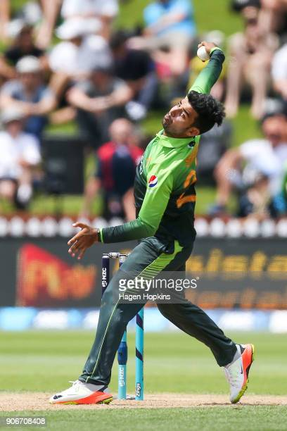 Shadab Khan of Pakistan bowls during game five of the One Day International Series between New Zealand and Pakistan at Basin Reserve on January 19...