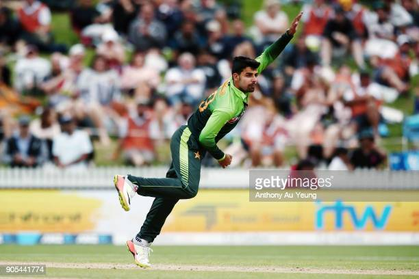 Shadab Khan of Pakistan bowls during game four of the One Day International Series between New Zealand and Pakistan at Seddon Park on January 16 2018...