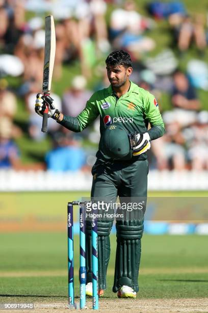 Shadab Khan of Pakistan celebrates his half century during game five of the One Day International Series between New Zealand and Pakistan at Basin...