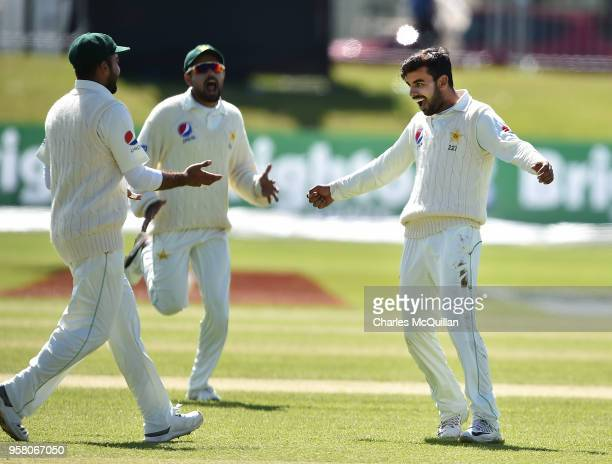 Shadab Khan of Pakistan celebrates taking the wicket of Stuart Thompson during the third day of the test cricket match between Ireland and Pakistan...