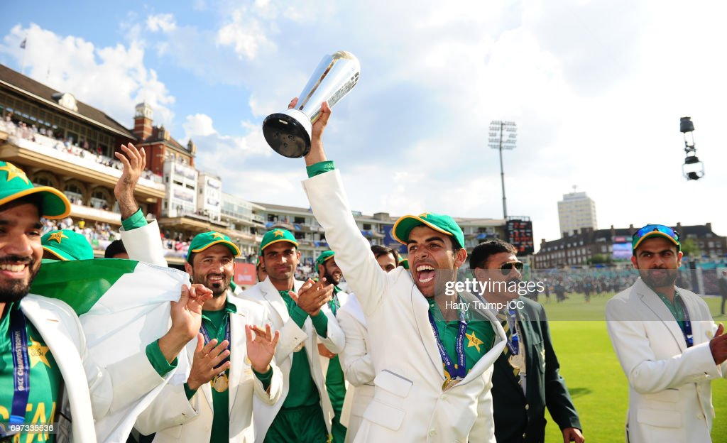Shadab Khan of Pakistan (C) celebrates with the trophy during the ICC Champions Trophy Final match between India and Pakistan at The Kia Oval on June 18, 2017 in London, England.