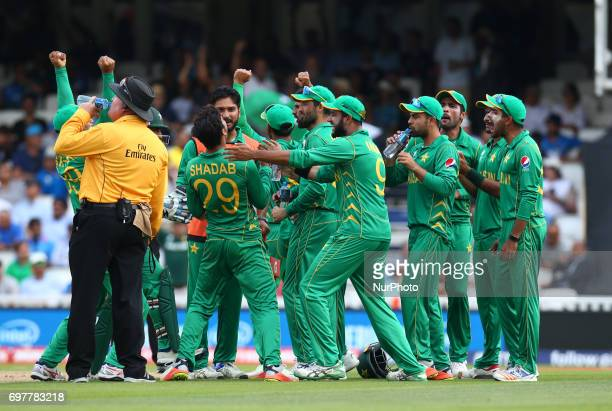 Shadab Khan of Pakistan cerebrates LBW on Yuvraj Singh of India during the ICC Champions Trophy Final match between India and Pakistan at The Oval in...