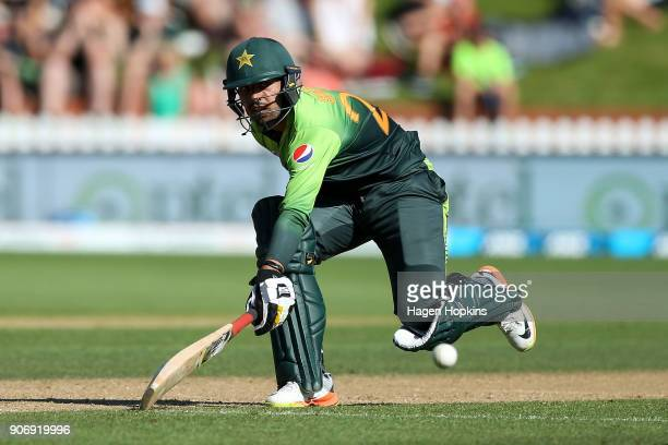 Shadab Khan of Pakistan makes his ground during game five of the One Day International Series between New Zealand and Pakistan at Basin Reserve on...
