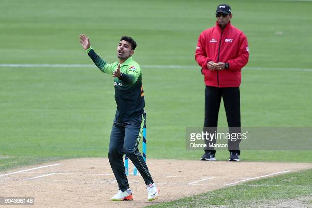 Shadab Khan of Pakistan reacts during the third game of the One Day International Series between New Zealand and Pakistan at University of Otago Oval...