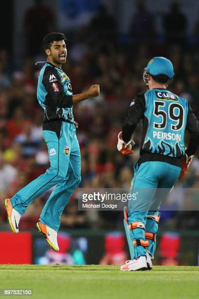 Shadab Khan of the Heat celebrates the wicket of Aaron Finch of the Renegades during the Big Bash League match between the Melbourne Renegades and...