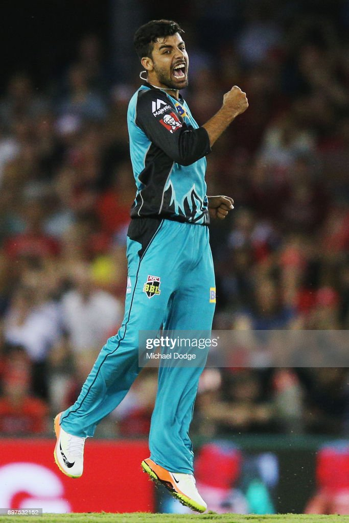 Shadab Khan of the Heat celebrates the wicket of Aaron Finch of the Renegades during the Big Bash League match between the Melbourne Renegades and the Brisbane Heat at Etihad Stadium on December 23, 2017 in Melbourne, Australia.