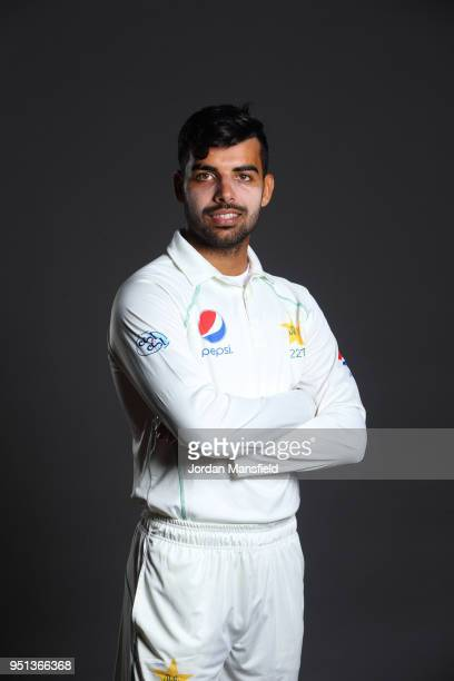 Shadab Khan poses for a portrait during the Pakistan Headshot Session at The Spitfire Ground on April 25 2018 in Canterbury England