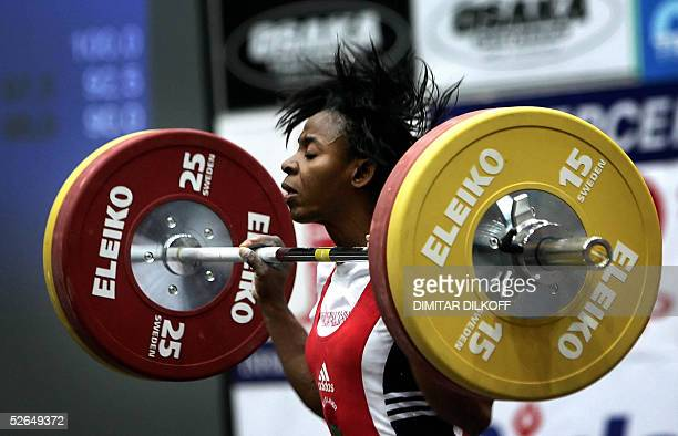 Shade OkotieEboh of United Kingdom competes in the women's 53 kg during the European Weightlifting Championship in Sofia 19 April 2005 Nastassia...