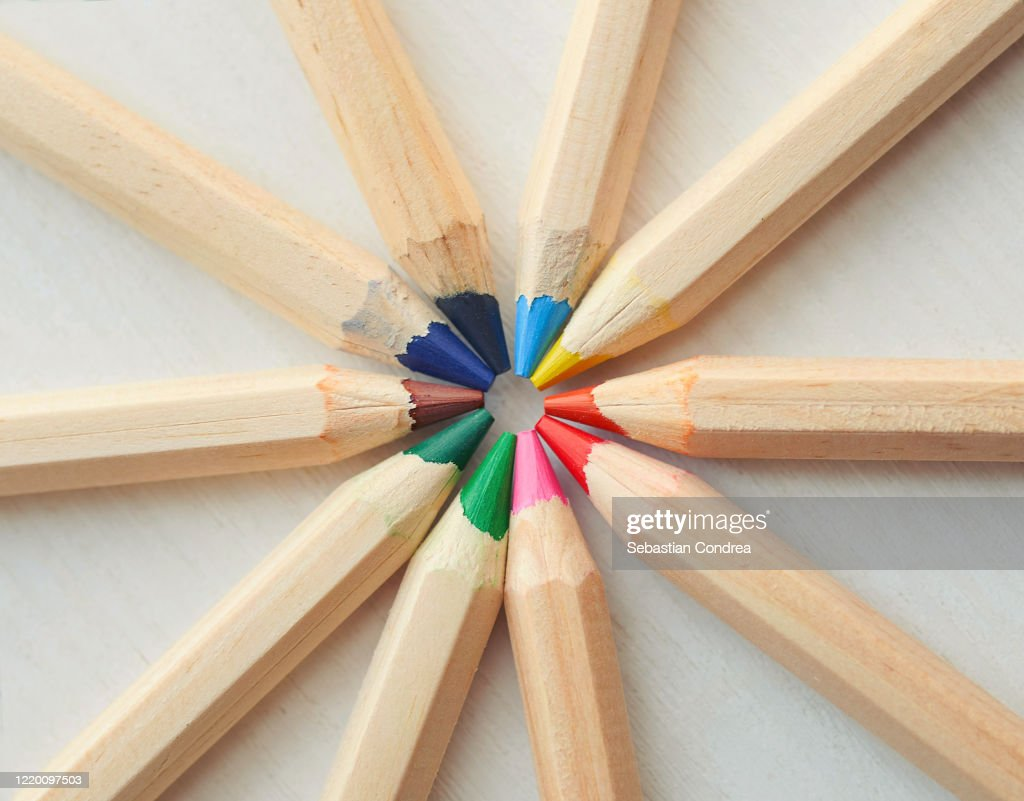 Shades Of Color Pencils Isolated On White Fabric Canvas Background High Res Stock Photo Getty Images