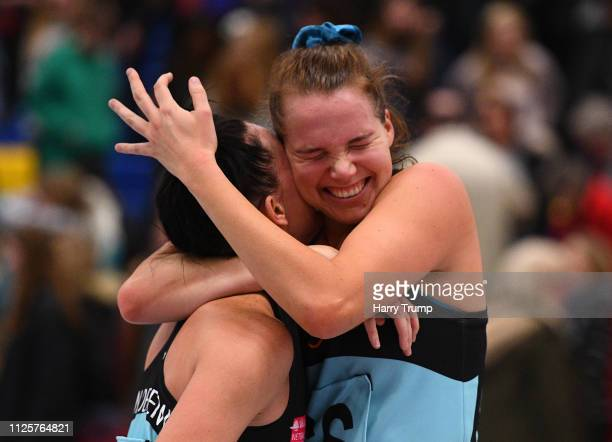 Shadine Van Der Merwe and Sigi Burger of Surrey Storm celebrate on the final whistle during the Vitality Netball Superleague match between Team Bath...