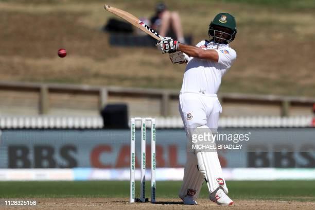 Shadman Islam of Bangladesh bats during day three of the first cricket Test match between New Zealand and Bangladesh at Seddon Park in Hamilton on...