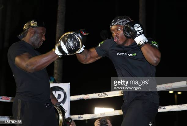 KSI shadow boxes during his work out at Venice Beach ahead of KSI vs Logan Paul 2 on November 05 2019 in Venice California KSI vs Logan Paul 2 will...