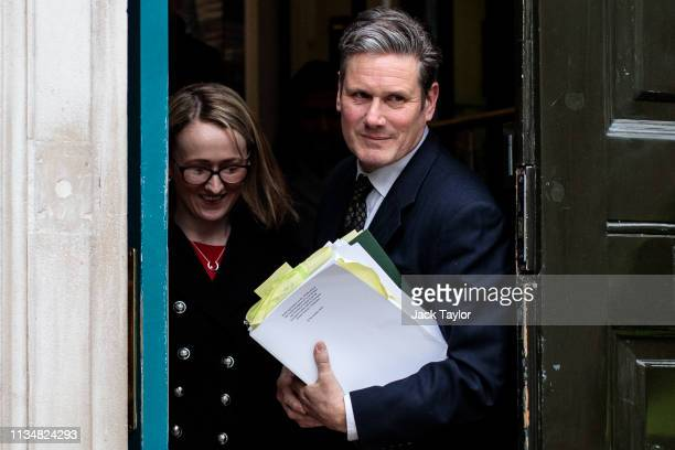 Shadow Brexit Secretary Keir Starmer and Shadow Business Secretary Rebecca Long Bailey leave the Cabinet Office in Westminster on April 4 2019 in...