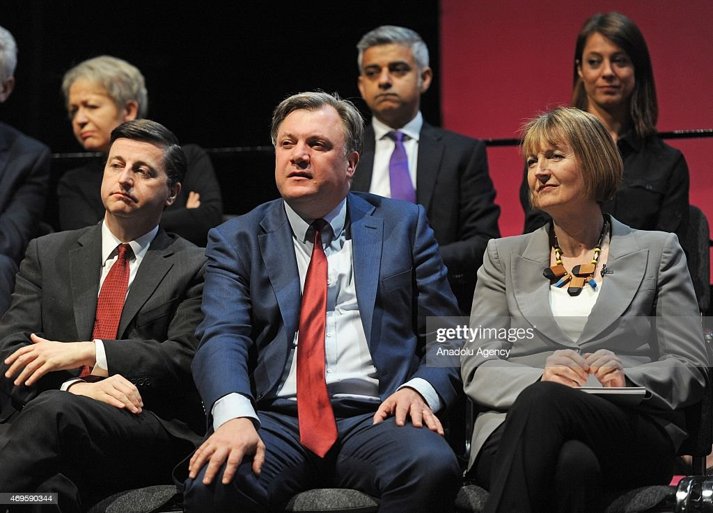 Shadow Cabinet Ministers Douglas Alexander (L) UK's Shadow Secretary for Foreign and Commonwealth Affairs, Ed Balls (C) UK's Shadow Chancellor of the Exchequer and Harriet Harmen (R) UK's Shadow Deputy Prime Minister (right) at the launch of The Labour Party 2015 Election Manifesto at the Old Granada Studios in Manchester, United Kingdom on April 13, 2015.