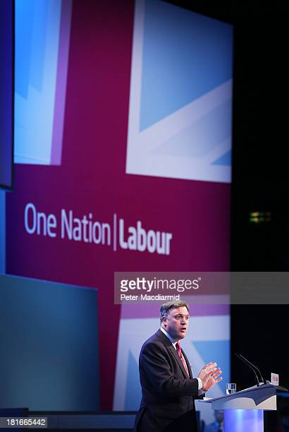 Shadow Chancellor Ed Balls addresses delagates at the Labour Party Conference on September 23 2013 in Brighton England Day two of the opposition...