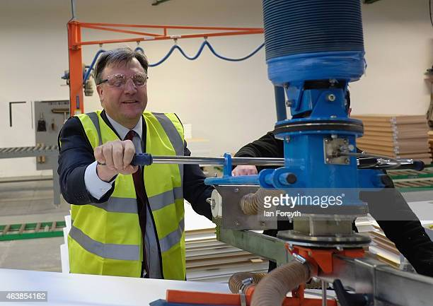 Shadow Chancellor Ed Balls is shown part of the manufacturing process during a visit to the Cotswold Manufacturing factory on February 19 2015 in...