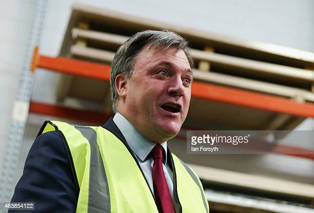 Shadow Chancellor Ed Balls speaks to journalists during a visit to the Cotswold Manufacturing factory on February 19 2015 in StocktononTees England...