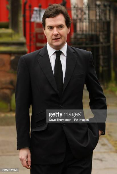 Shadow chancellor George Osborne arrives for a memorial service for Sara Roache, the wife of Coronation Street actor Bill, at St Bartholomew's...