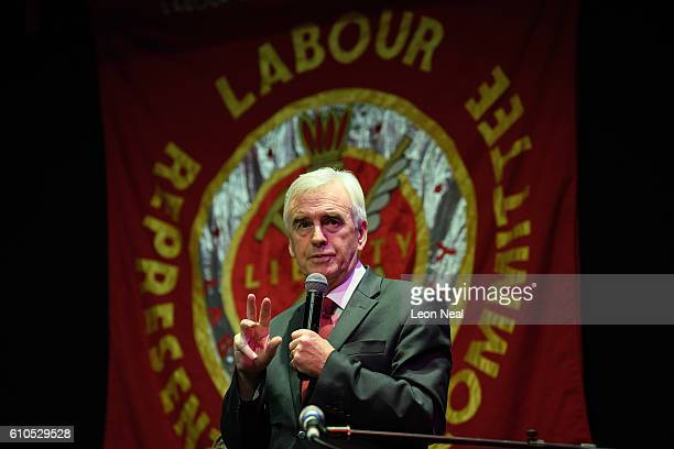Shadow Chancellor John McDonnell addresses an audience at 'The World Transformed' fringe event organised by Momentum on the second day of the Labour...