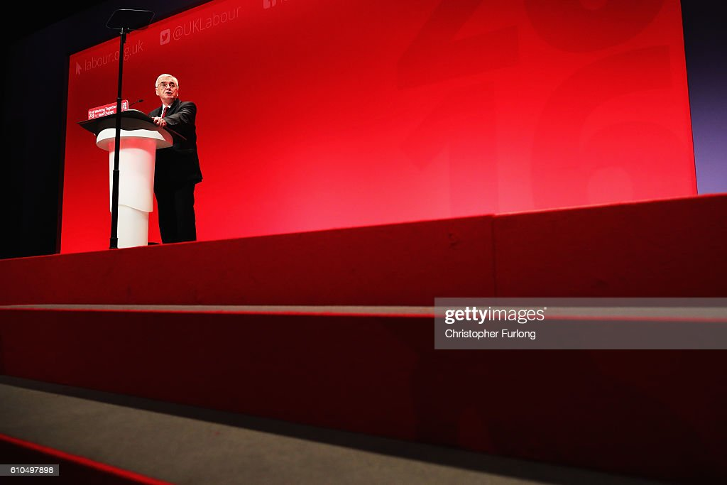Shadow Chancellor John McDonnell delivers his keynote speech to the Labour Party Conference on September 26, 2016 in Liverpool, England. During his keynote speech the Labour Shadow Chancellor John McDonnell stated that if in power a Labour government would create a 'manufacturing renaissance'. Labour would also support traditional manufacturing and industry with government 'intervention' if needed. The shadow chancellor also rejected claims that the party is anti-enterprise.