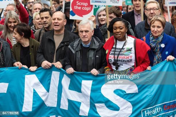 Shadow Chancellor John McDonnell joins protesters through central London during a demonstration in support of the NHS on March 4 2017 in London...