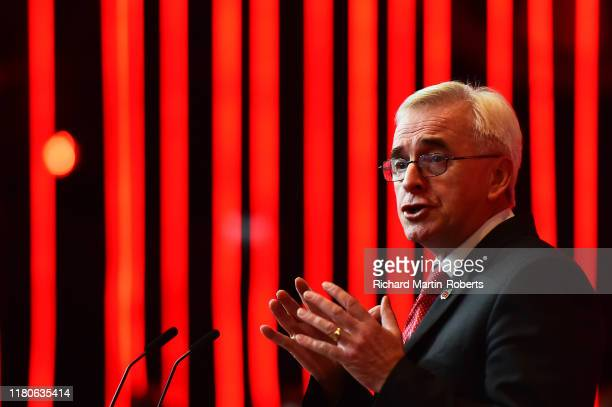 Shadow Chancellor John McDonnell of the Labour Party delivers a major speech on the economy at the Invisible Wind Factory on November 7 2019 in...