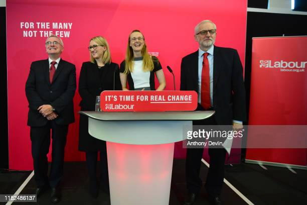 Shadow Chancellor John McDonnell Shadow Secretary of State for BEIS Rebecca LongBailey and Labour leader Jeremy Corbyn address the audience at the...