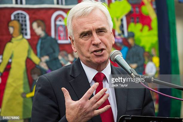 Shadow Chancellor John McDonnell speaks at a rally in Parliament Square during a strike by The National Union of Teachers on July 5 2016 in London...