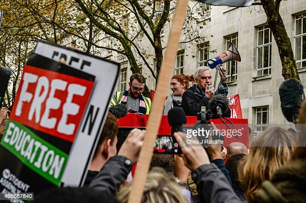 Shadow Chancellor John McDonnell speaks at the beginning of a protest at the University of London on Malet Street on a demonstration against...