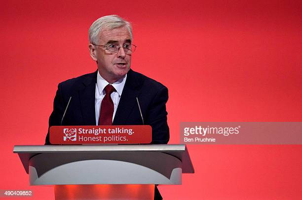 Shadow Chancellor John McDonnell speaks to delegates during a session entitled 'Stability and Prosperity' during the second day of the Labour Party...