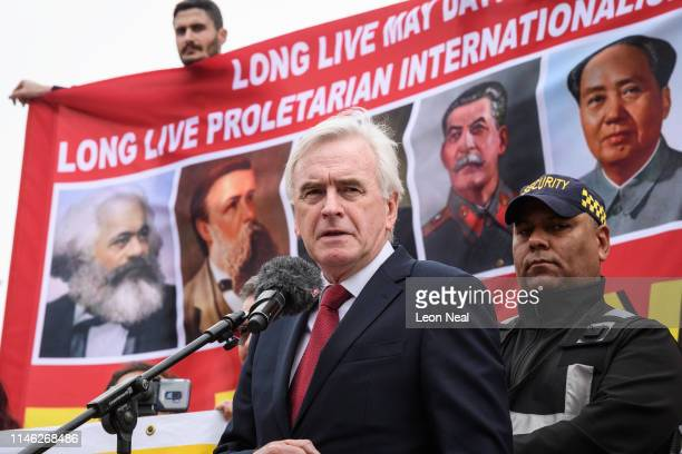 Shadow Chancellor John McDonnell speaks to Union members in Trafalgar Square as they take part in the Labour Day March on May 1 2019 in London...