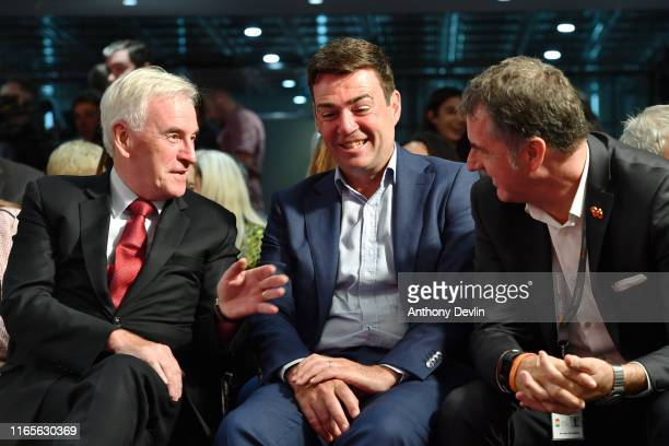 Shadow Chancellor John McDonnell speaks with Mayor of Greater Manchester Andy Burnham and Metro Mayor of the Liverpool City Region Steve Rotheram...