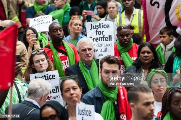 Shadow Chancellor John McDonnell takes part in a protest outside the Home Office in central London a year after the Grenfell Tower fire which took...