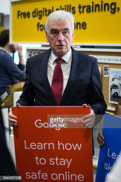 Shadow Chancellor John McDonnell visits the Google display stand in the exhibitors area of the Exhibition Centre Liverpool during day three of the...