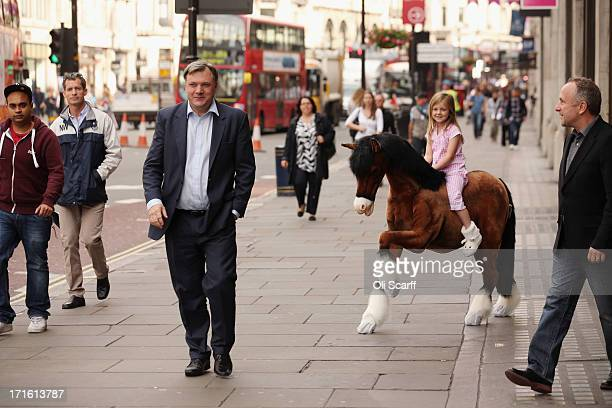Shadow Chancellor of the Exchequer Ed Balls walks past Lottie aged 5 riding a Clydesdale Prancing Pony outside Hamleys toy shop on June 27 2013 in...