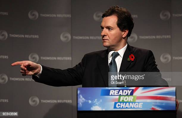 Shadow Chancellor of the Exchequer George Osborne delivers a speech urging banks to cap staff bonuses in Canary Wharf on October 26 2009 in London...