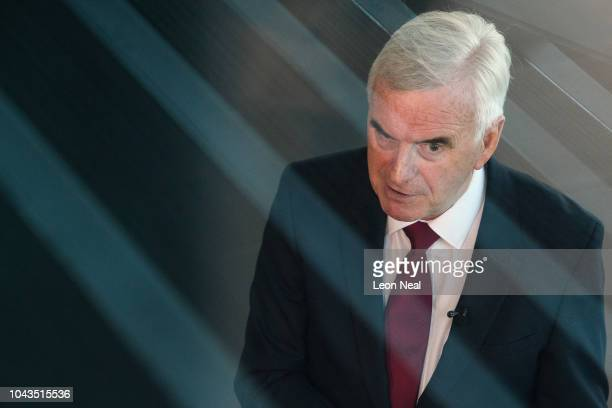 Shadow Chancellor of the Exchequer John McDonnell is interviewed inside the Exhibition Centre Liverpool as day two of the annual Labour Party...