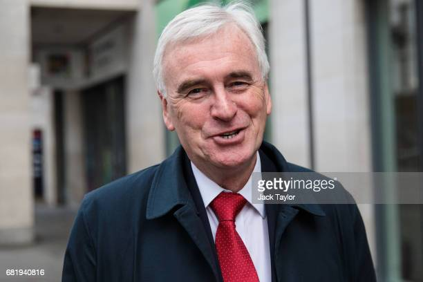 Shadow Chancellor of the Exchequer John McDonnell leaves Labour's Clause V meeting at Savoy Place on May 11 2017 in London United Kingdom The Labour...